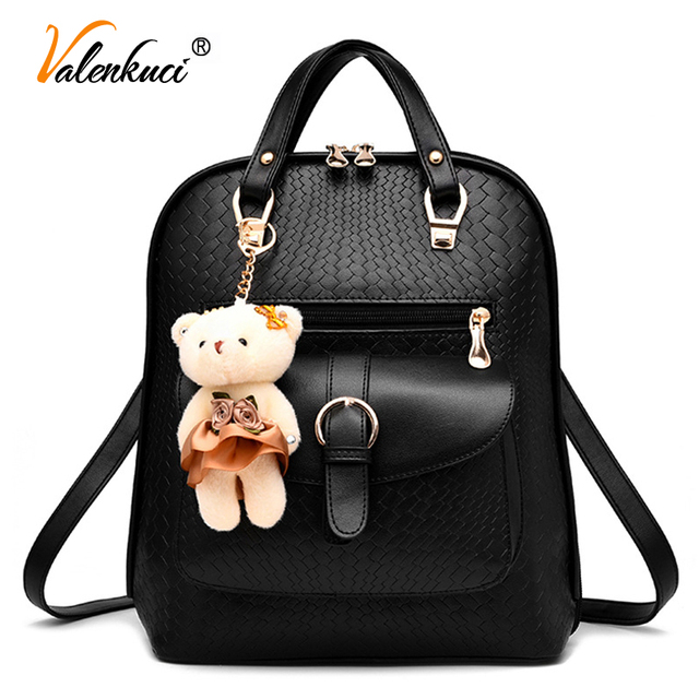 250206da1624 Valenkuci 2018 famous brand backpack women s backpacks female solid vintage  girls school bags for women leather backpack BD-197