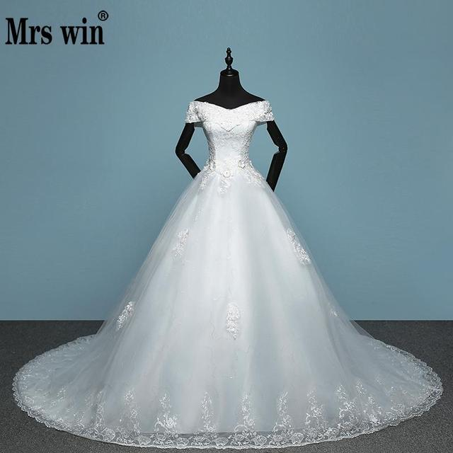 2017 new arrival mrs win applicue wedding dress lace boat neck 2017 new arrival mrs win applicue wedding dress lace boat neck sweep brush train bridal gown junglespirit Image collections