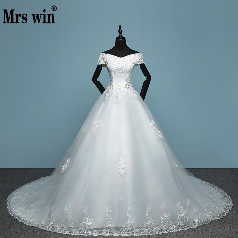 2020 New Arrival Mrs Win Applicue Wedding Dress Lace Boat Neck Sweep Brush Train Bridal Gown Lace Up Cap Sleeve Frock Dress