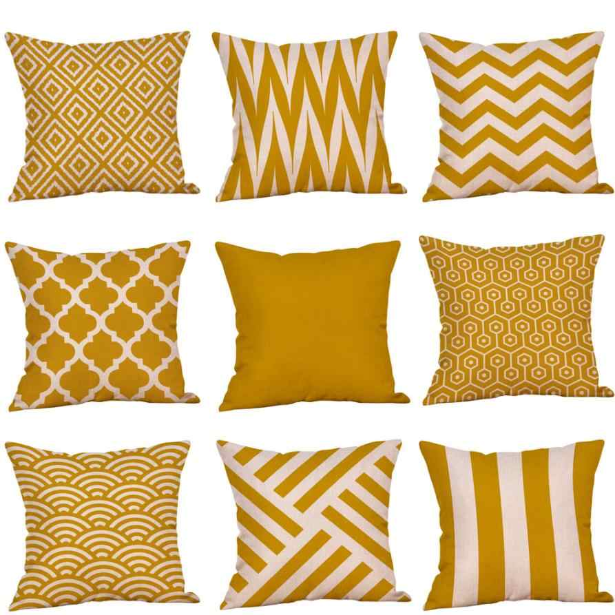 Cushion Cover Throw Pillowcase 45x45cm Mustard Yellow Linen Cotton Soft Decorative Pillow cover sofa Pillow Case For Home Decor