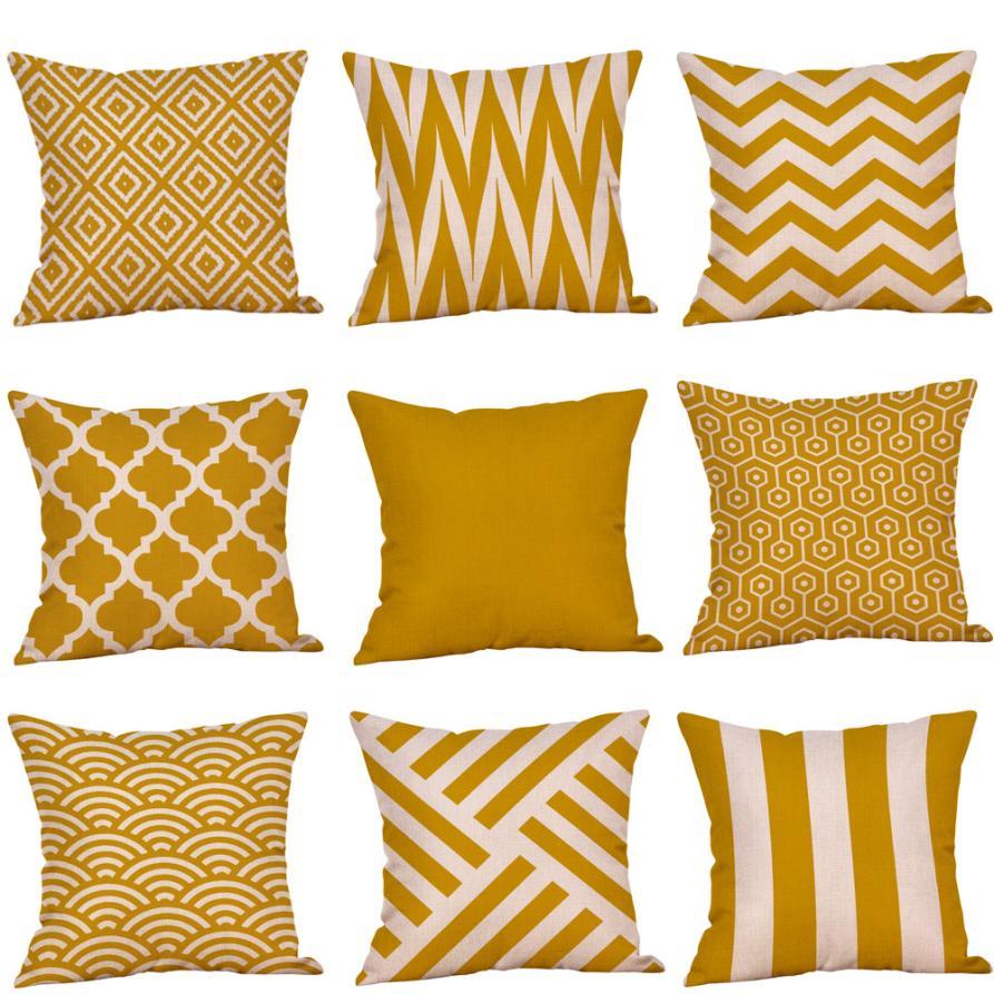funda cojin 45x45cm Mustard Pillow Case Yellow Fall Autumn geometric cushion Cover sofa pillow covers decorative pillowcase