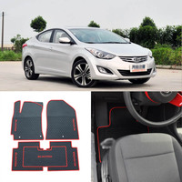 High Quality Full Set All Weather Heavy Duty Black Rubber Floor Mats For Hyundai Elantra 2012 2014