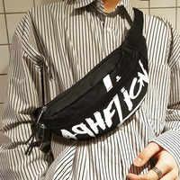 Bolso de la cintura de las mujeres de los hombres carta Casual bolsa de Nylon bolsos de hombro de viaje de la calle de roca de paquetes de Fanny pendiente mochila 98