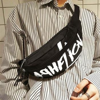 Tas Pinggang Pria Wanita Huruf Kasual Dada Bag Nilon Perjalanan Tas Bahu Street Rock Keren Fashion Fanny Paket Miring Ransel 98