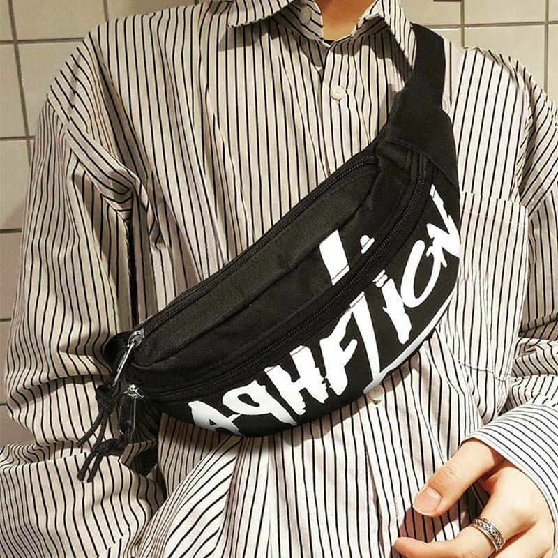 Waist Bag Men Women Letter Casual Chest Bag Nylon Travel Shoulder BagS Street Rock Cool Fashion Fanny Packs Incline Backpack 98