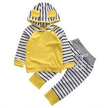 Комбинезон для новорожденных мальчиков и девочек; толстовка с капюшоном; штаны; толстовка в полоску с длинными рукавами; осенняя одежда для малышей