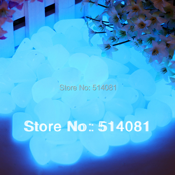 100pcs sky blue glow in the dark fluorescent pebbles. Black Bedroom Furniture Sets. Home Design Ideas