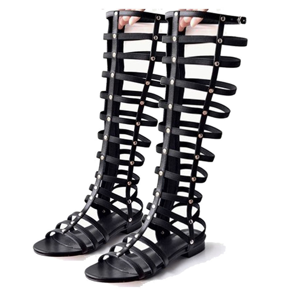 Black boot sandals - Summer New Cool Knee Boots Sexy Women High Boots Strap Flat Sandals Female Roman Shoe Hollow Boots Sandals Open Toe Cozy Fashion