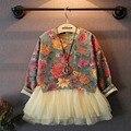 Princesa de las muchachas floral Retro del niño vestido durante todo el invierno partido de marfil de Tulle vestidos, sudaderas con capucha chicas + vestido del chaleco 2 unids conjunto