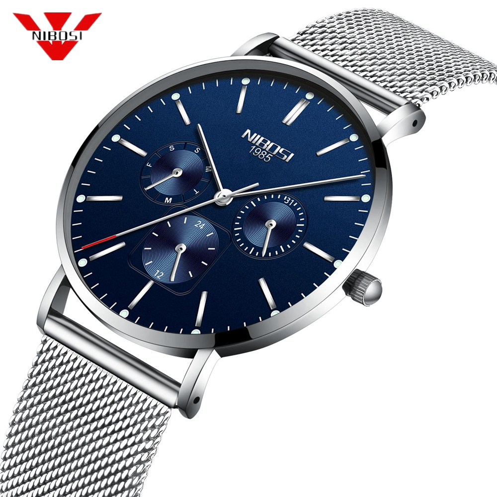 NIBOSI Mens Watches Top Brand Luxury Waterproof Sport Watch Men Ultra Thin Quartz Watch Casual Relogio Masculino Zegarek Damski источник бесперебойного питания apc back ups 1400va 230v avr iec sockets bx1400ui
