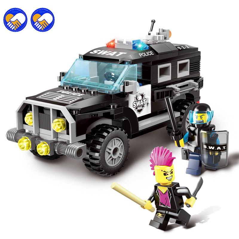 A toy A dream 190pcs Enlighten City Series Police Swat Car Building Block Kids Educational Bricks Toys Legoingly