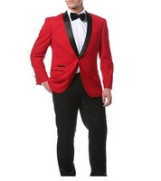 Red Jacket + Black Pants and Bow Tie Hankerchief Groomsmen Shawl Lapel Groom Tuxedos Side Vent Men Suits Wedding Best Man B925