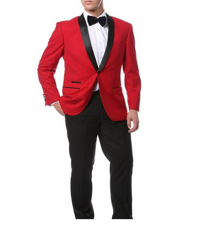 Red Jacket   Black Pants and Bow Tie Hankerchief Groomsmen Shawl ...