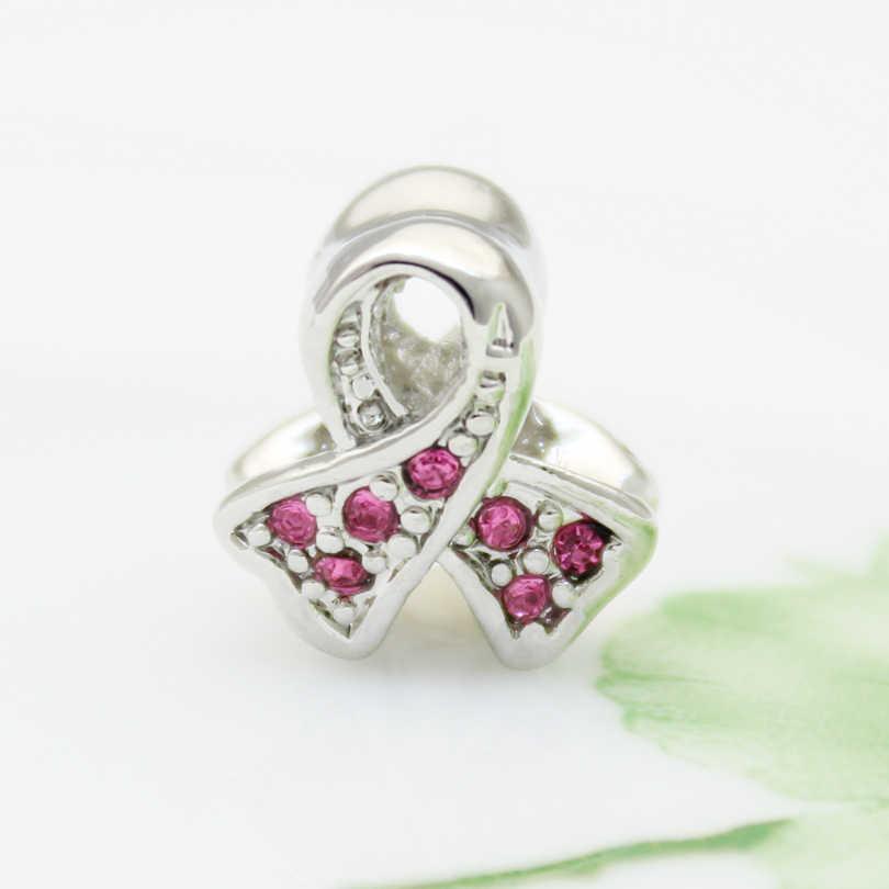 Różowy rhinestone kobiet raka piersi logo Europejskie koraliki DIY biżuteria klasyczna popularne Fit Pandora Bransoletka kobiet Biżuteria DIY