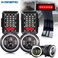HJYUENG 45w 7 LED Headlights 4'' Fog Lights Tail Lamp For 07 15 Jeep Wrangler JK LED DRL Projector Headlights/Black Tail Lights
