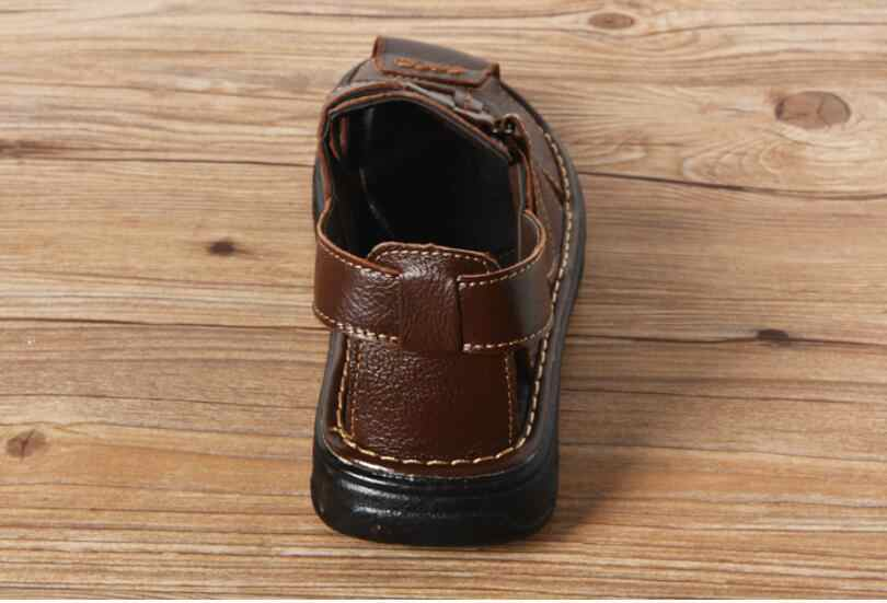 9b92d6f003fc ... free shipping 2018 summer mens slippers genuine leather sandals outdoor  casual men leather sandals for Beach ...