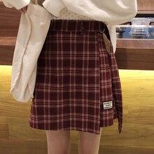 5b86872b6 Women Autumn Winter Plaid Skirt Polyester Sashes A-Line Empire Waist  Irregular Preppy Style Above