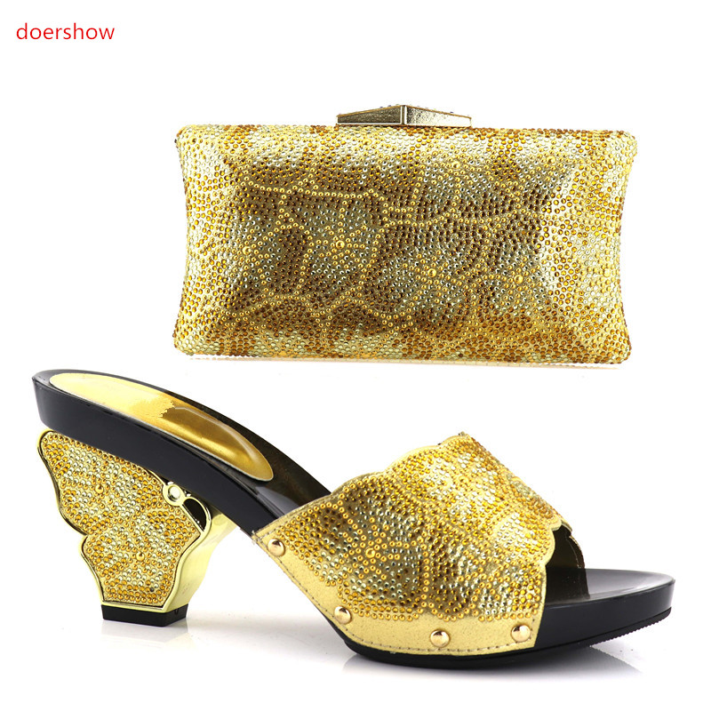 doershow  GOLD African Matching Shoe and Bag Set Decorated with Rhinestone Nigerian Women Shoes and Bag Set for Wedding!HV1-57 doershow african shoe and bag matching set african wedding shoe and bag sets women shoe and bag to match for parties puw1 20