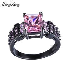 RongXing прямоугольное кольцо с розовым кристаллом и цирконием для женщин, винтажное черное Золотое кольцо с камнем, подарок на День Благодарен...