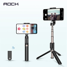 ROCK Bluetooth Selfie Stick Portable Handheld Smart Phone Camera Tripod with Wireless Remote For iPhone Samsung Huawei Android 100%original huawei honor bluetooth selfie stick tripod portable bluetooth3 0 monopod for iphone android huawei smart phone