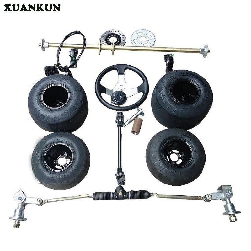 XUANKUN Modification du Kart de dérive F1 à quatre roues avant l'assemblage de l'essieu arrière du système de direction avec des pneus de 5 pouces