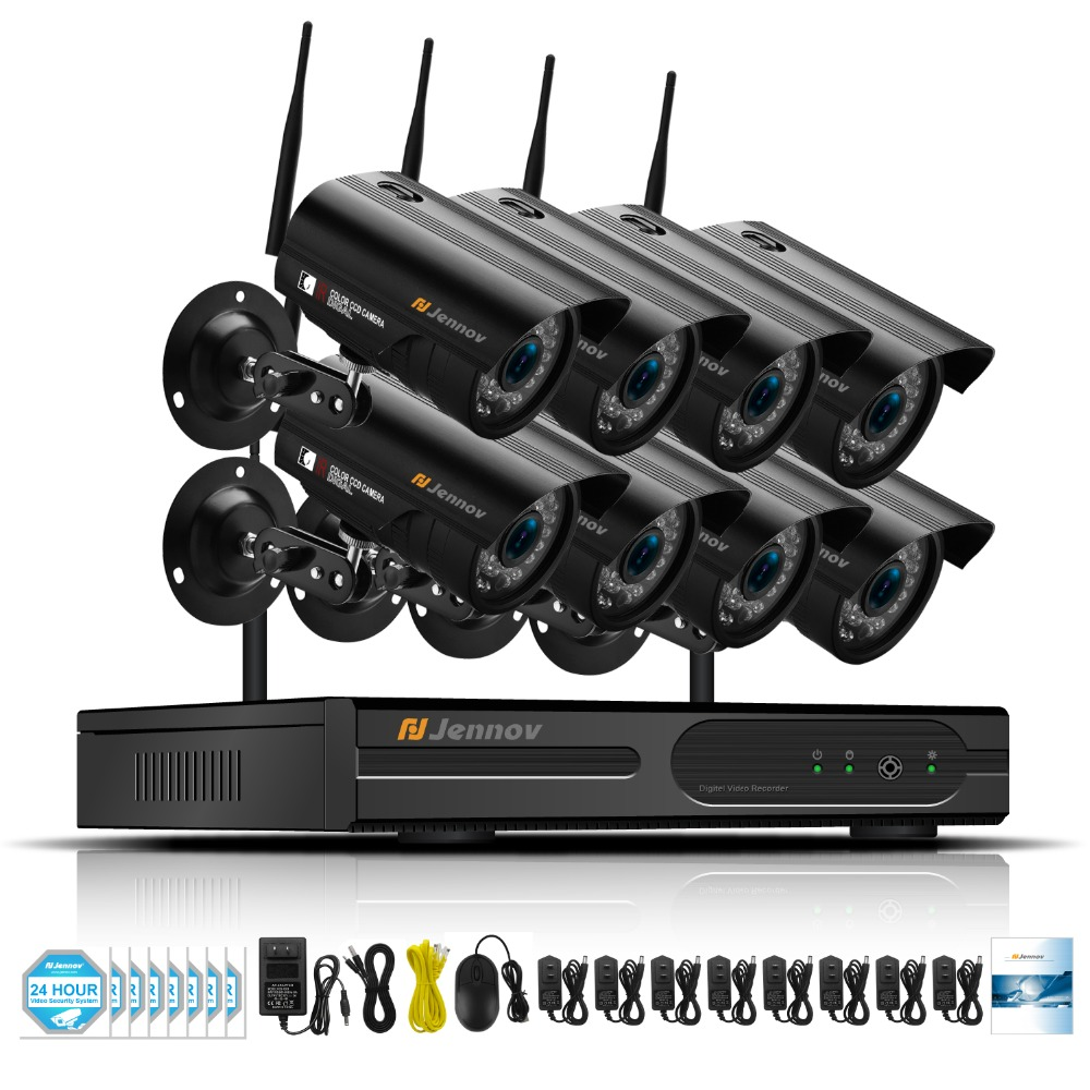 Jennov 8CH 1080P Wireless Security Camera System Video Surveillance Kit IP Cam NVR P2P CCTV Set 2MP WIFI APP EseeCloud Full HD full hd 8ch 1080p wireless nvr cctv system 2mp 1080p wifi ip camera waterproof day night security camera video surveillance kit