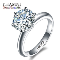 Fine Jewelry Ring Gold 18KRGP Stamped Real Gold Rings Set 8mm 2 Carat SONA CZ Diamond