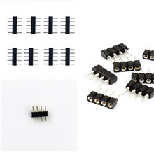 100pcs/lot, 4pin/5pin RGB/RGBW connector, 4 pin/5 pin needle, Female/male type double 5pin, easy connet for RGB/ RGBW strip(China)