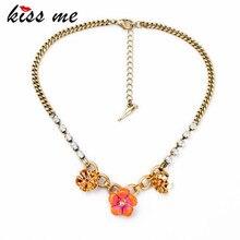 Очаровательные, Милые Античная Chian Эмали Цветок Ожерелье Мода Bijoux Ожерелье Bijuterias для Женщин