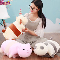 Candice guo plush toy stuffed doll cartoon animal totoro rabbit dog bear panda nap pillow cushion with blanket birthday gift 1pc