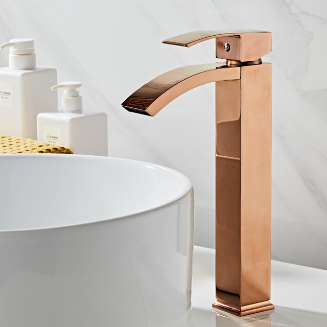Basin faucet brass bathroom faucet single handle torneiras para pia de banheiro Rose Gold sink Wash faucet waterfall faucet