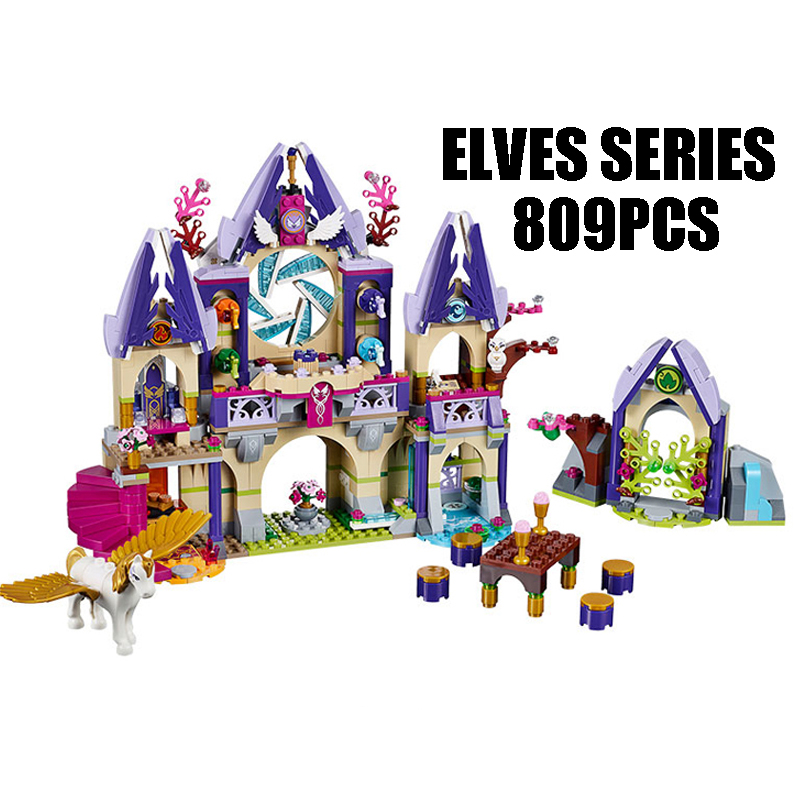 WAZ Compatible Legoe Elves 41078 lele 79225 Elves Figure blocks Skyra's Mysterious Sky Castle building blocks toys for children 0367 sluban 678pcs city series international airport model building blocks enlighten figure toys for children compatible legoe