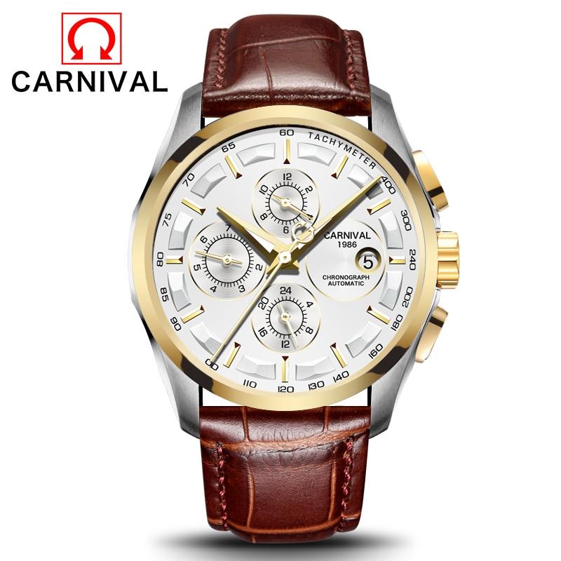 Carnival Men Watches Automatic Mechanical Brand Luxury Watch Men Sapphire reloj hombre Waterproof Men Watch Wristwatche C-8629-8 все цены