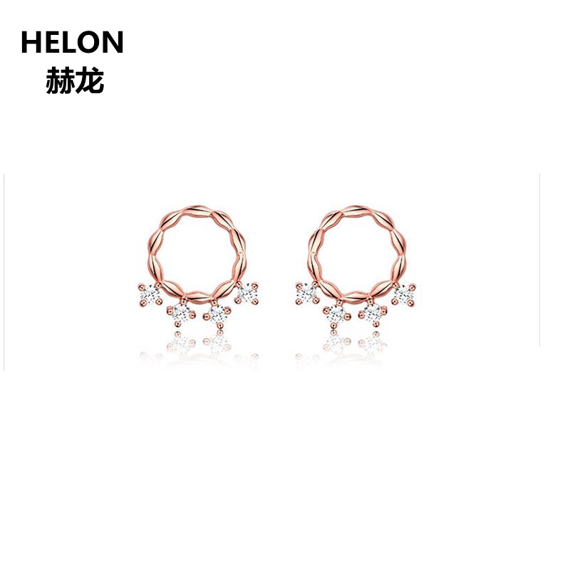 1/10ct Natural Diamonds Stud Earrings Solid 14k Rose Gold Women Earrings Engagement Wedding Anniversary Party Fine Jewelry solid 18k yellow gold natural diamonds stud earrings for women party engagement wedding anniversary fine jewelry earrings trendy
