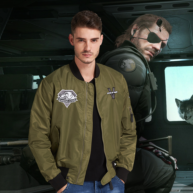 2018 High Quality Metal Gear Solid V The Phantom Pain Venom Snake Jacket Coat Men Flight Jacket Army Green Motorcycle Jacket Men