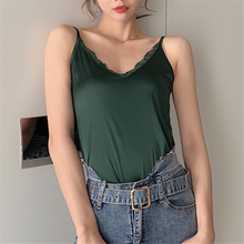Silk Top Women Sexy Satin Tops Womens Summer Woman Black Lace Tees Vest Loose V Neck Plus Size Korean Stain