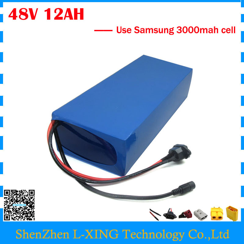 EU US no tax 48V li-ion battery pack 48V 12AH electric scooter battery with PVC Case use Samsung 3000mah cell with 2A Charger free customs taxes high quality skyy 48 volt li ion battery pack with charger and bms for 48v 15ah lithium battery pack