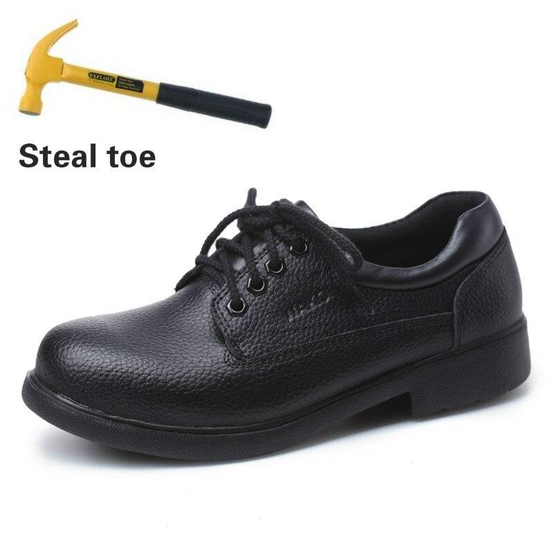 Nuevos zapatos de cocina de cuero genuino para Hombre Zapatos de cocina de Chef con punta de acero Anti kick trabajo de seguridad zapatos a prueba de agua-in Zapatos informales de hombre from zapatos    1