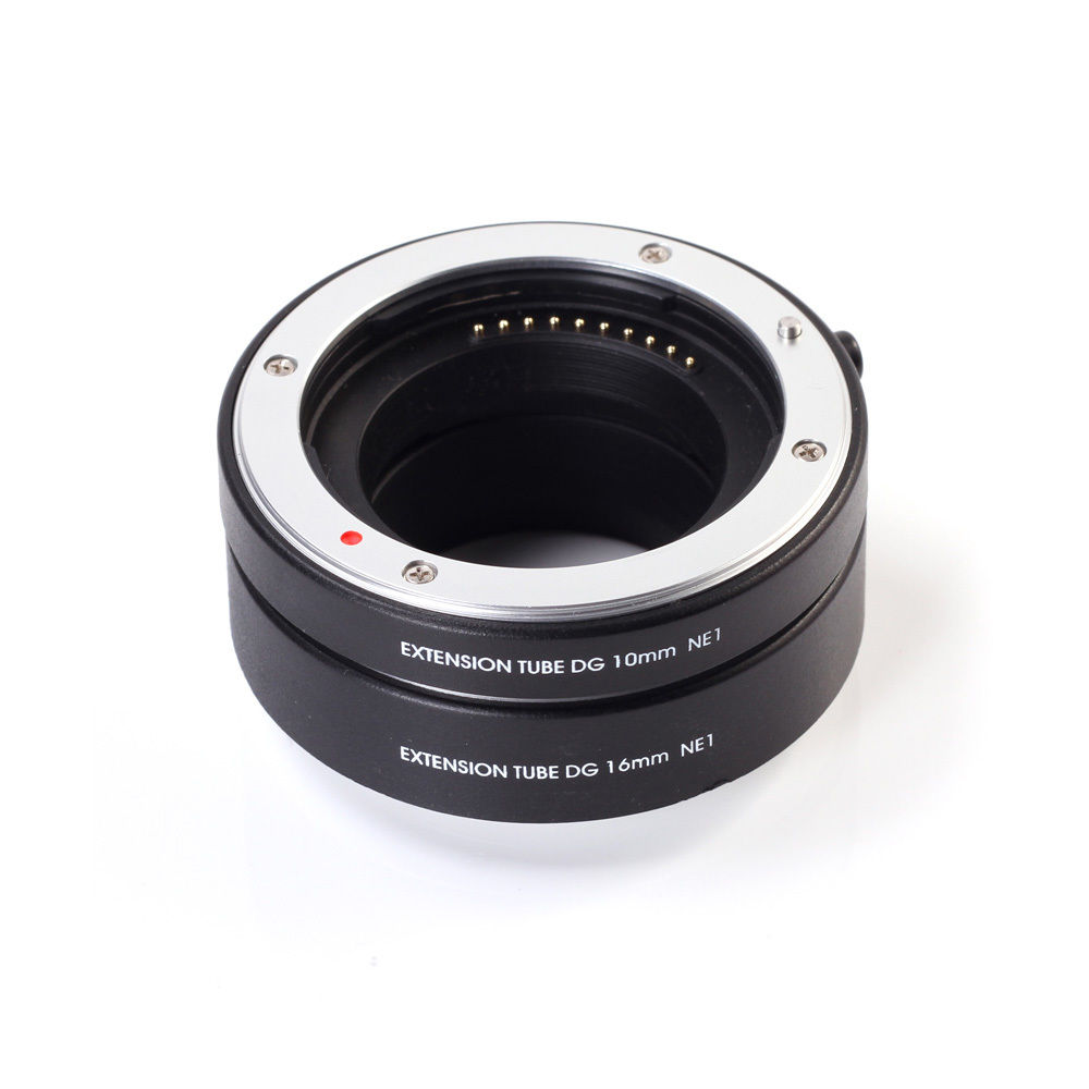 FOTGA Metal Mount Macro AF Auto Focus Extension Tube Ring 10mm + 16mm Set DG Sony NEX E Mount NEX NEX-6 NEX3 NEX5 კამერა