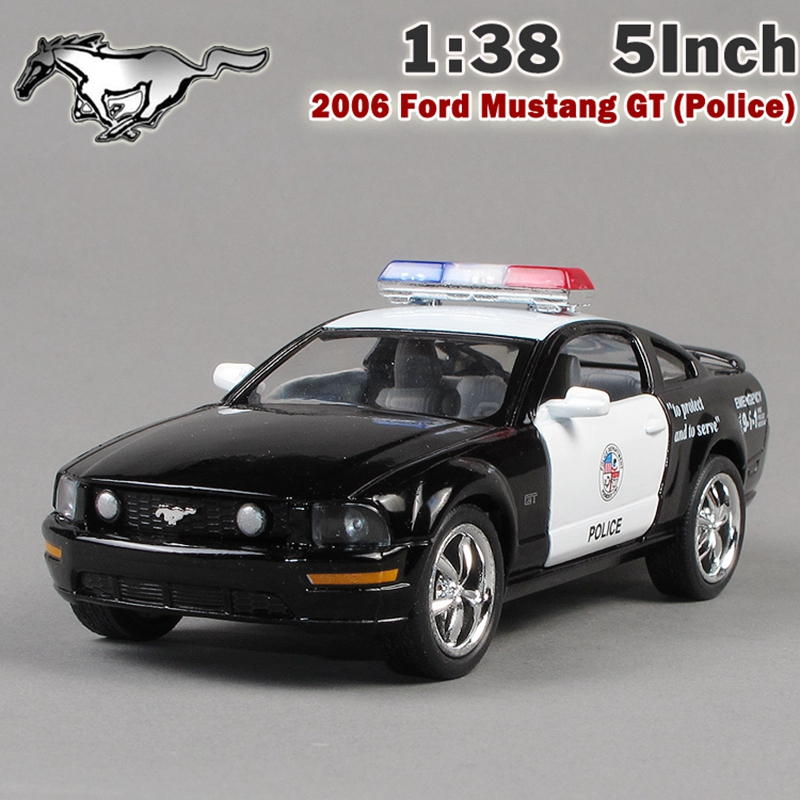 KiNSMART 1:38 2006 Mustang GT Police Toys Car Alloy Diecast Model Car Vehicle Toy Collection Gift For Boy Children