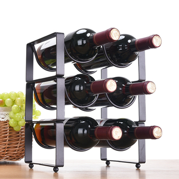 XXXG moderna decoración minimalista botella de vino bastidor de vino Marco de hierro superpuesto estante de vino sala de estar