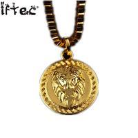 Iftec Hiphop Gouden Leeuw Hanger Ketting puur goud kleur Leeuwenkop Disc Ketting Mannen Hip Hop Dance Zware Charm Box Keten Mannelijke