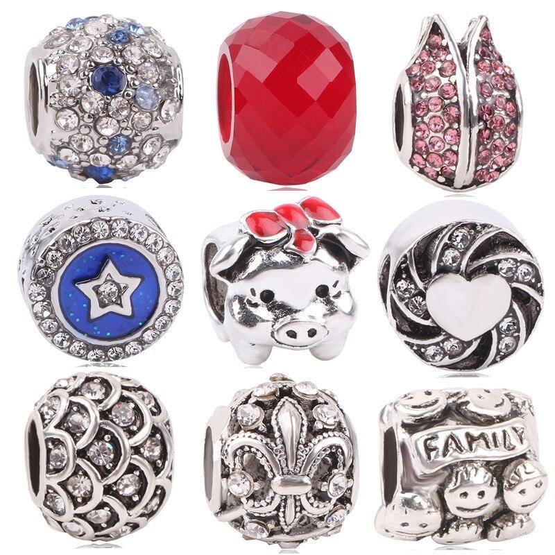 dodocharms 2018 Valentine's Day For Original Pandora Charms Bracelet DIY Jewelry Silver Color Family Pig Charm Glass Beads