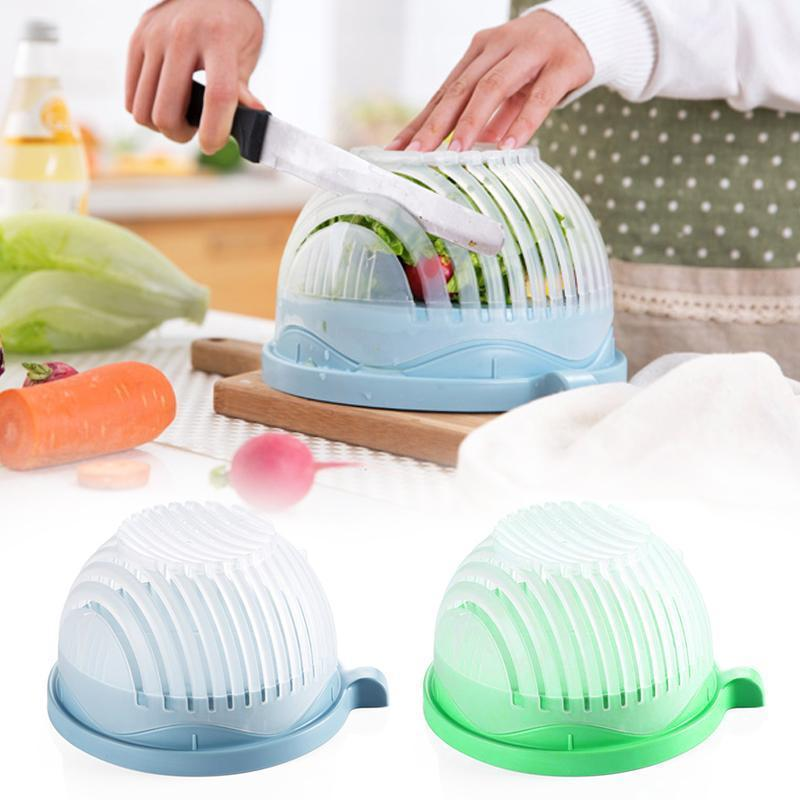 Salad Cutter Bowl Cut Fruit Vegetables salad bowl Creative kitchen Vegetable Washing Strainer Fruit Cutter 3