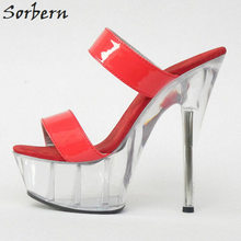 Sorbern Women Slippers Plus Size Slip On 2018 Fashion 18CM Spike Heels 5CM Platform New Arrive Red Patent Leather Slippers Sexy(China)