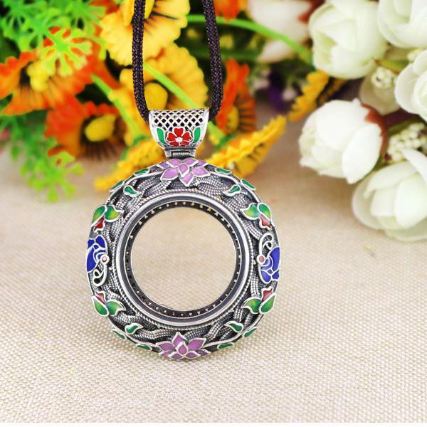 925 Sterling Silver Semi Mount Pendant Cloisonne Enamel 28mm Round Cabochon Fine Jewelry China Ethnic International Fashion