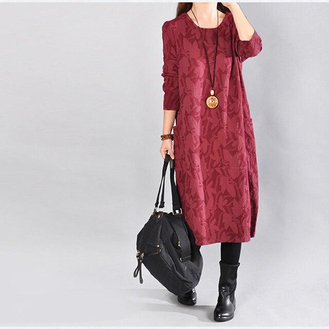 Johnature Women Cotton Linen Dress Print Floral Women Clothes 2017 Autumn New Long Sleeve Casual Pockets Robes O-Neck