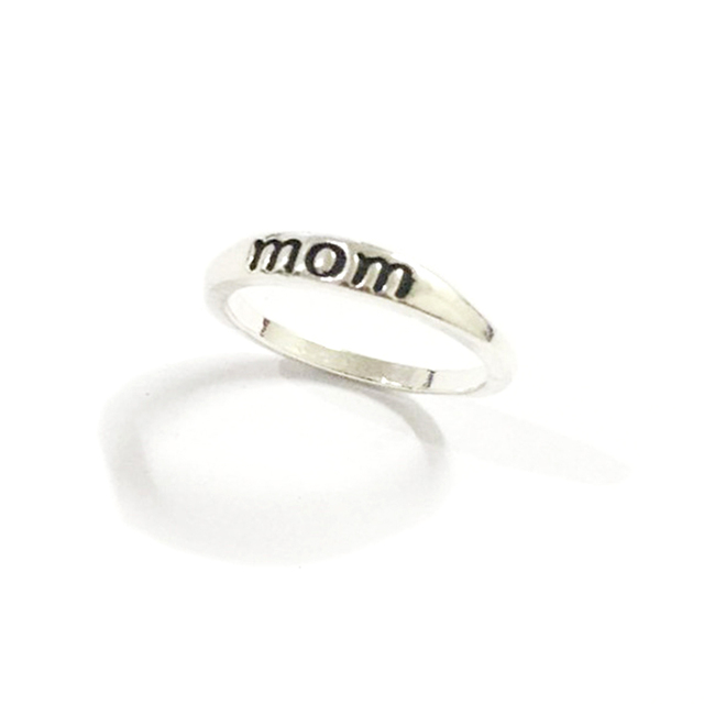 Classic Silver Color Ring Jewelry Letter Print Mom Ring for Women Clear Fashion