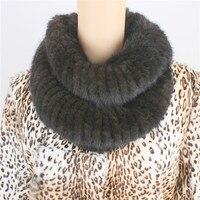 Liyafur genuino reale a maglia della pelliccia del visone inverno delle donne lungo dell'involucro della sciarpa scaldacollo scialle femminile