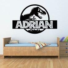 Personalized Jurassic Park Wall Sticker Bedroom Dinosaur T-Rex Custom Name Vinyl Decal Home Nursery Boy Kids Room Decor G577